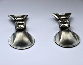 Ermani Bulatti Clip Earrings with Glass Stone Accent - Dutch Designer Earrings - 1980's Retro Statement Earrings