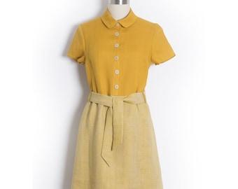 Linen dress - Yellow shirt dress - Vintage shirtwaist dress - 1950s chemisier with sash belt - Vintage style dress - Linen shirt dress
