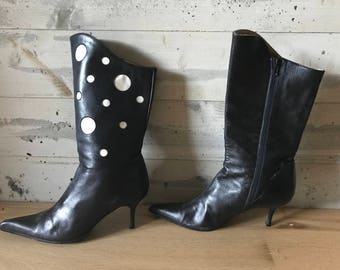 Women's Pointed Toe Black and White Leather Boots