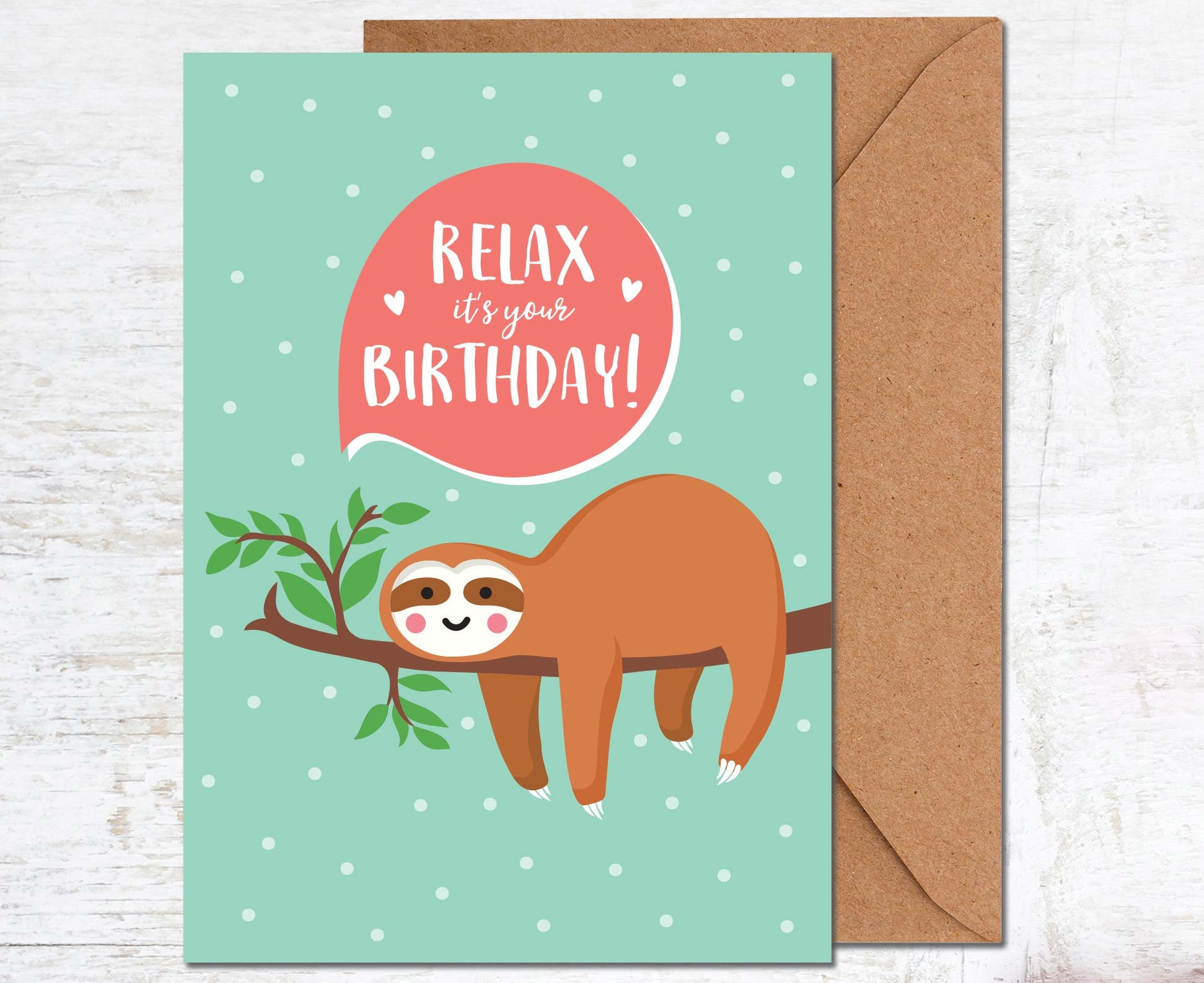 Sloth Birthday Card Birthday Card Friend Birthday Card