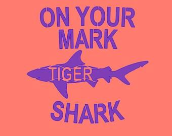On Your Mark Tiger Shark Stencil-- Reusable