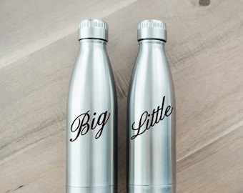 Personalized Big and Little Water Bottle - STAYS COLD 24 HOURS - Stainless Steel Vacuum Sealed - Sorority Sister Gift