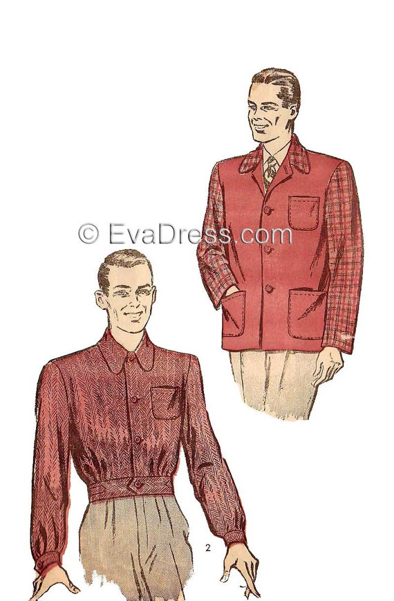 Men's Vintage Reproduction Sewing Patterns 1940s Jackets Eisenhower Multi-size EvaDress Pattern $18.00 AT vintagedancer.com