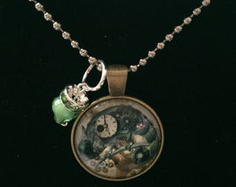Handmade steam punk chameleon necklace with pendant