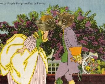 Original Collage Artwork, Animal Love Illustration Art, Cute Girlfriend Gift, Sweet Gift for Couple, Romantic Home Decor