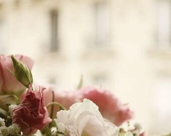 Paris Wall Art Print Dreamy Pink Floral French Romance