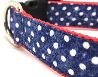 Blue Dot on Red Dog Collar | Patriotic Dog Collar | Blue Dog Collar for Boys | Step In Harness and Leash Set | Fourth of July Dog Collar