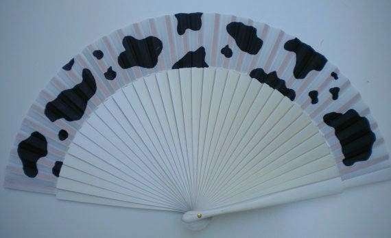 Cow Print Hand Fan SIZE OPTIONS Wooden Folding Handheld Fan Hand Painted by Kate Dengra Spain