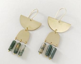 Tri Moss Agate Earring