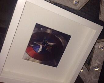 Captain america  lego mini-figure and print framed handmade picture frames
