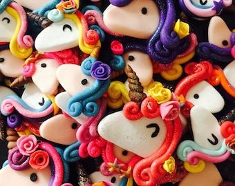 Flat back clay unicorn embellishments