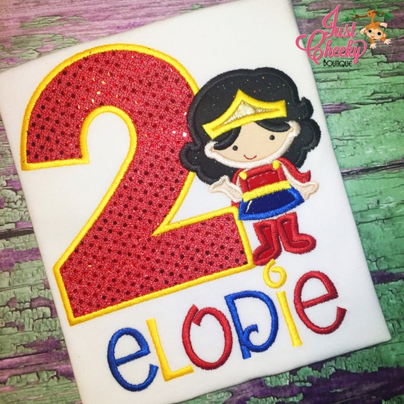 Wonder Woman Inspired Cutie Birthday Shirt - Wonder Woman Embroidered Shirt - Wonder Woman Party - Wonder Woman Birthday Shirt -