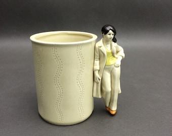 Vintage 1979 Enesco Woman Handled Mug/ Candle Holder