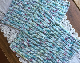 A Set of Two Knitted Wash Cloths, multi colors