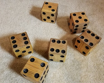 6 Wooden Yard Dice and Game cards- Great for Playing Indoor/Outdoor GamesYard Farkles; Yardzee + Dice Games! Laminated game card included!
