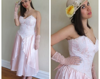 Vintage 1980s Pretty in Pink Party Prom Dress Jessica McClintock Gunne Sax 80s Does 50s Disney Princess Strapless Party Material Girl Medium