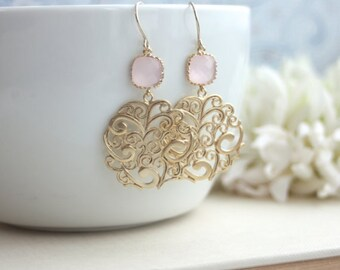 Gold Paisley Filigree Chandelier with Blush Ice Pink Drops Earrings, Bridesmaid Gift, Blush Pink and Gold Pink Gold Boho Wedding, Light Pink