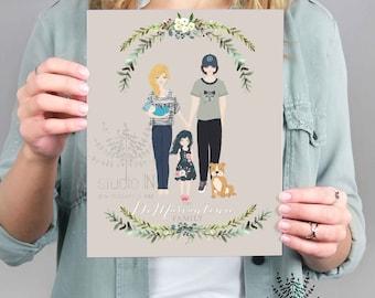 Mother's day gift, family portrait, custom family illustration, custom couple portrait, anniversary gift, family illustration, gift for mum