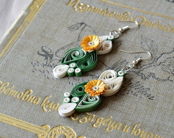 Paper Earring, First year anniversary Gift for Her, Paper Anniversary Her, Shabby Chic Earrings, Yellow Flower Earrings, Gift For Wife