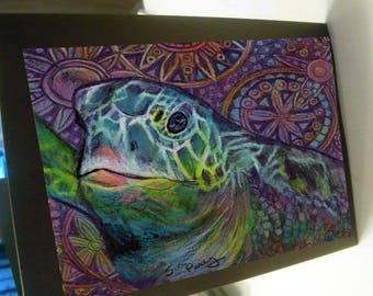 Greeting card print of original art- colorful sea turtle spirit animal Zentangle