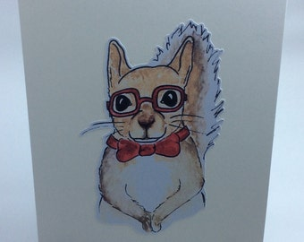 Hipster Squirrel Card