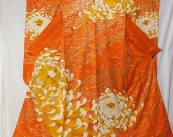 Orange Furisode (for wall hanging), Vintage kimono