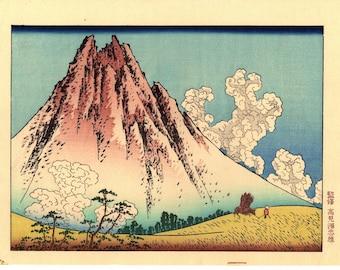 "Japanese Ukiyo-e Woodblock print, Katsushika Hokusai, ""Mt. Fuji seen from Mishima in Koshu"""