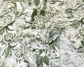 Japanese Fabric Rayon Crepe - tropics - olive green - 50cm