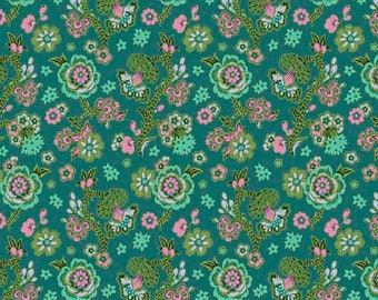 1/2 Yard Free Spirit Night Music Midnight Bloom in Teal AB009 designed by Amy Butler