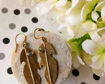 Labradorite feathers earrings, Brass Feather Earrings, Statement Earrings, Drop Earrings, Nature Inspired, Brass Jewelry, Boho style.