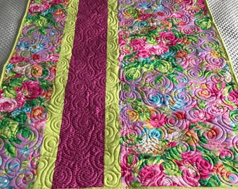 Baby Quilt in Raspberry and Lime Floral