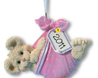 Personalized Baby's First Christmas Ornament Baby Bear Bundle- Girl, Newborn, Baby Shower Gift Gift Tag