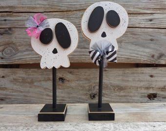 Fall Decor- Halloween Decor-Skull Decor- Halloween Decorations- Skull couple