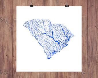 South Carolina Map - High Res Map of South Carolina Rivers / South Carolina Print / South Carolina Art / South Carolina Gift