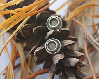 Sterling Silver and Oxidized Crater Studs