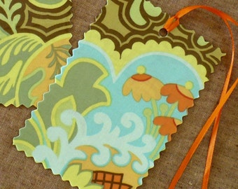 Bohemian luggage tags,  Amy Butler fabric, aqua, chocolate, orange, lime, travel