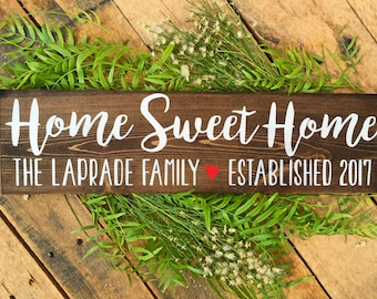 Home Sweet Home Sign, Family Name Signs, Custom Name Sign, Personalized Name Sign, Established Signs, Personalized Sign, Wedding Gifts