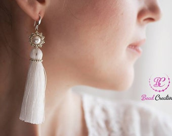pearl bridal wedding earrings pearl earrings boho earrings tassel earrings jewelry swarovski pearl summer wedding long earrings statement