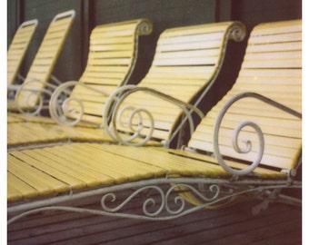 Polaroid Photograph - Lounge Chair Print - Yellow Pool Chairs - Mackinac Art - Mid Century Art - Polaroid Photography - Fine Art Polaroid