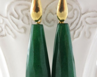 Green jade earrings, gold plated 925 sterling silver earrings, dangle earrings, drop earrings, stone jewelry, emerald jewelry, gift for her