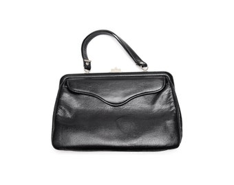 Vintage evening bag, black leather satchel bag, with top handle, silver colored top clasp, front pocket and push button, 1960s accessory