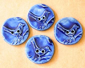 4 Ceramic Bird Buttons - Handmade Stoneware Bird Buttons in Gloss Blue