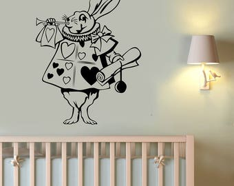 Alice In Wonderland Wall Sticker White Rabbit Vinyl Decal Disney Art Cartoon Animal Decorations for Home Children's Room Fairy Tale Decor a2