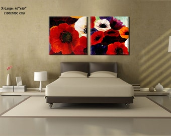 Painting on Canvas, Landscape Painting, Canvas Wall Art Painting, Abstract Painting, Flower Painting, Abstract Flowers by Miri Lavee