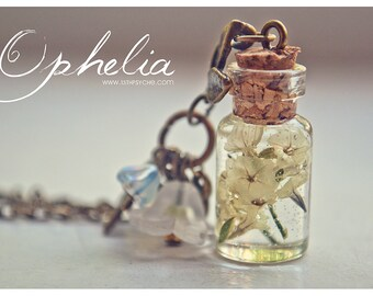 Dried flowers Bottle necklace Glass Vial necklace with flowers  terrarium jewelry pressed flowers jewelry inspirational gift for women