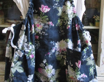 Market Jumper in Navy and Floral Cotton Duck with Big Pockets, Lagenlook, Apron, Pinafore, Artist Smock