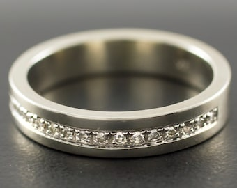 Channel Set Diamond Ring - 14K Gold Weeding Band - Round-cut Conflict Free Diamonds - Engagement Ring