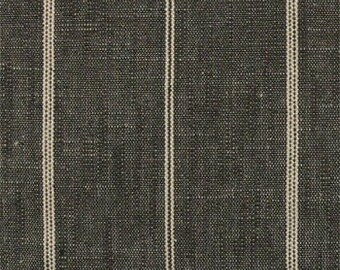 "Ticking Stripe Linen Curtains, Farmhouse, Grain Sack, Richloom, Rustic, French Country, Kitchen,  24"" or 52"" Wide, Color: Peppercorn Black"