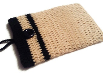 Hand Crochet Tablet or Phone Sleeve, Yarn Case for Electronics, Ipad Pouch, E reader Purse, Playbook Protection, Android Wallet