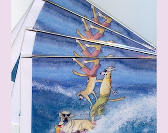 4 x Labrador Retriever dog greeting cards - surfing cool dudes
